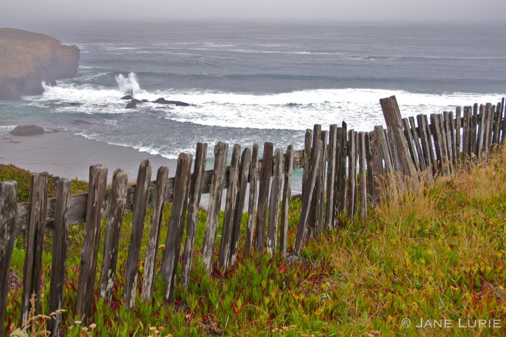 Fence and Crashing Wave, California Coast