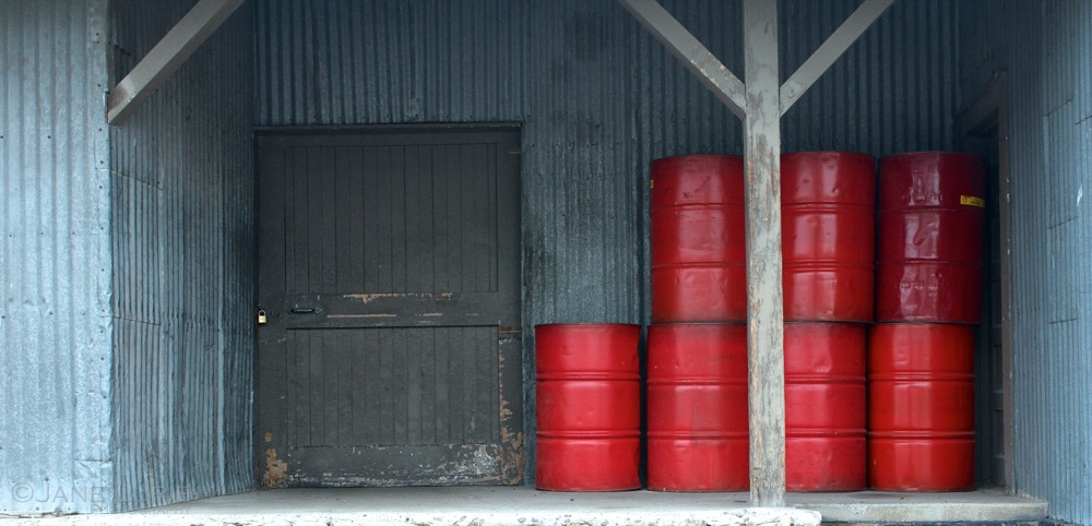 Door and Red Barrels, Bozeman, MT
