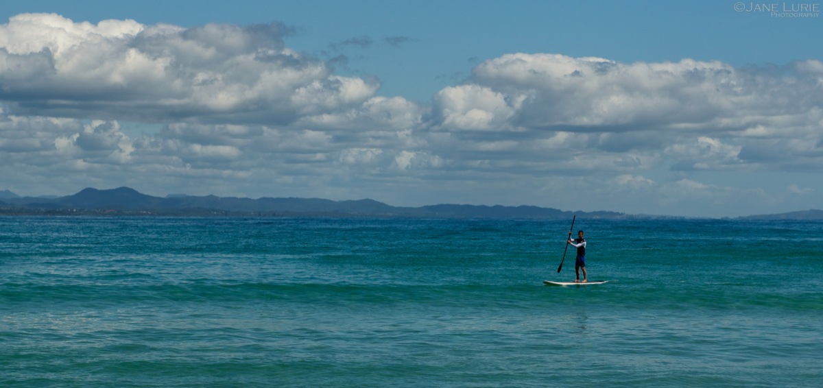 On His Own, Byron Bay Paddleboarder