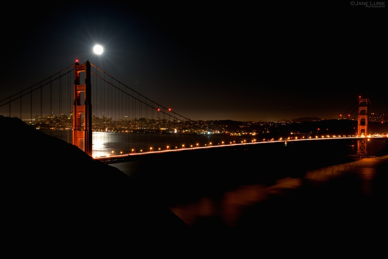 Golden Gate, Bridge, San Francisco, Night, Moon