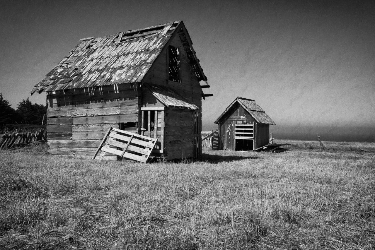 Barns, Mendocino, Black and White, Landscape, Photographyh