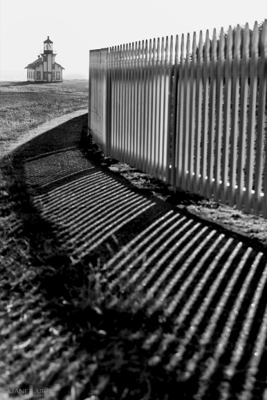 Lighthouse, Mendocino, Black and White, Shadows, Fence,