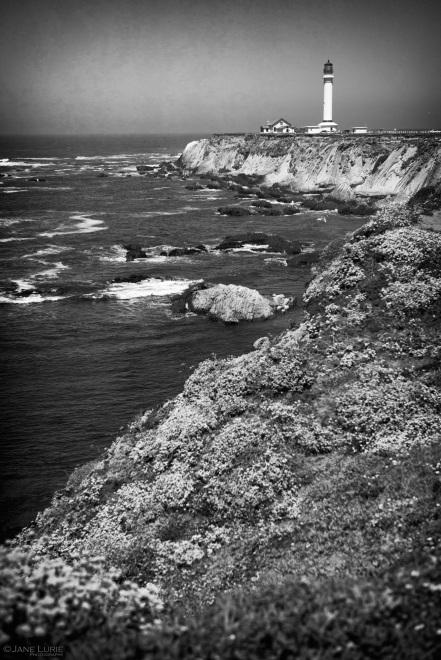 Lighthouse, California, Black and White, Nature, Landscape