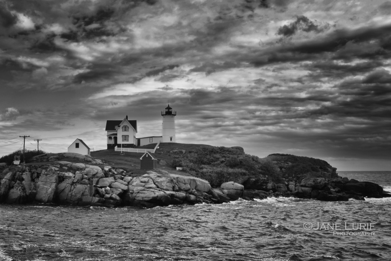 Landscape, Lighthouse, Black and White, Seascape