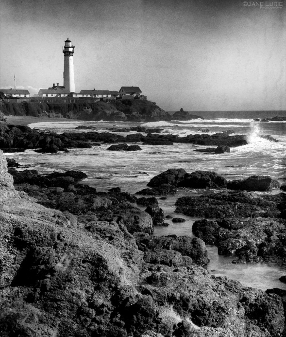 Lighthoue, Landscape, Seascape, Black and white