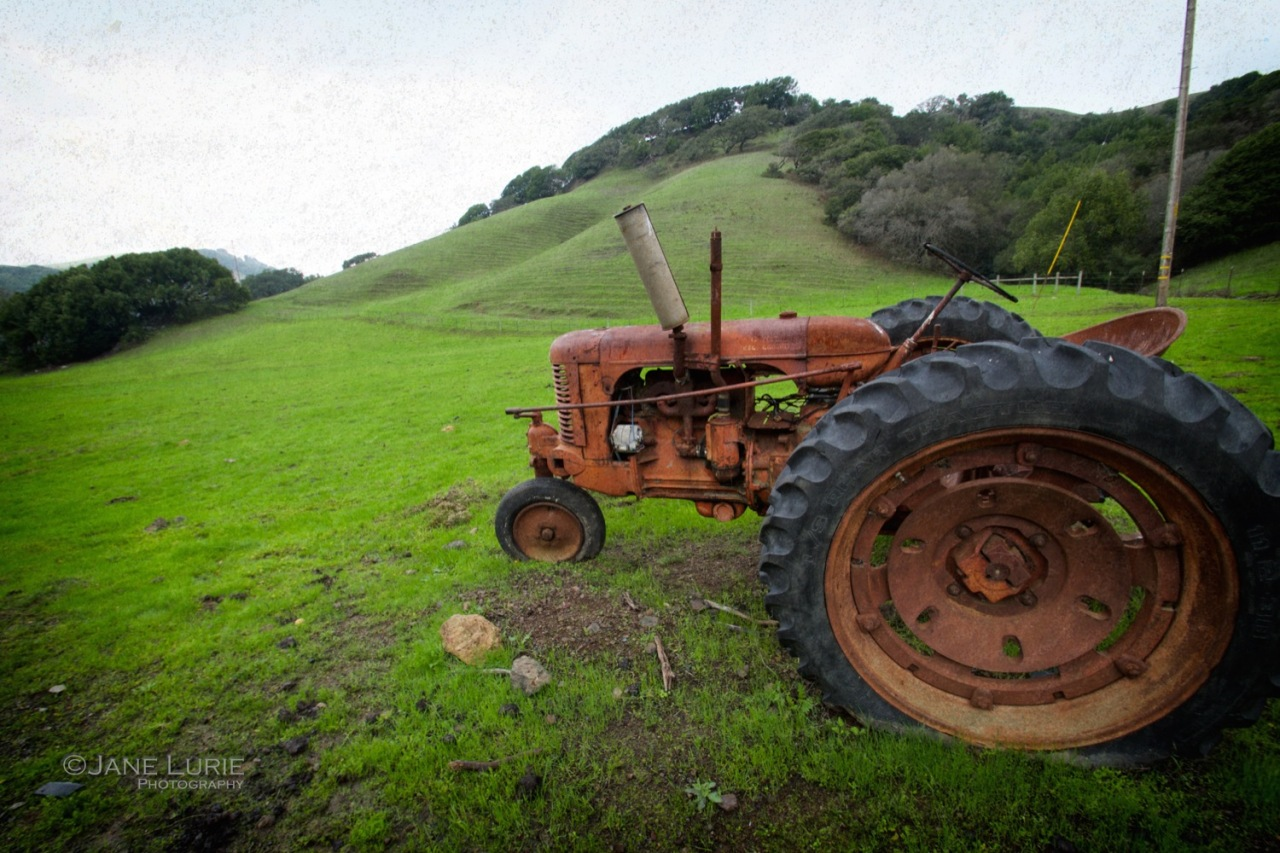 Landscape, Tractor, California, Green, Red