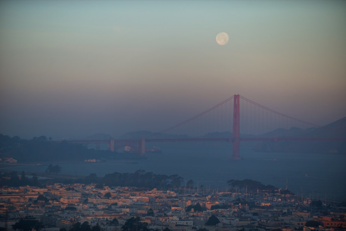 Moonset at Sunrise, Golden Gate