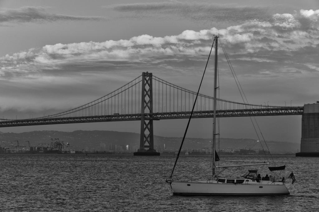 Landscape, Night Photography, San Francisco, California, Nikon, Bridge, Black and White, Astronomy, Moon,