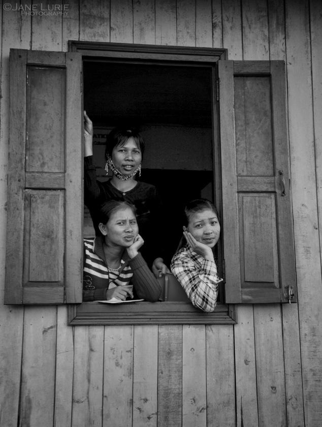 Threes, Trio, SE Asia, Portrait, Travel, Photography, Black and White, Women