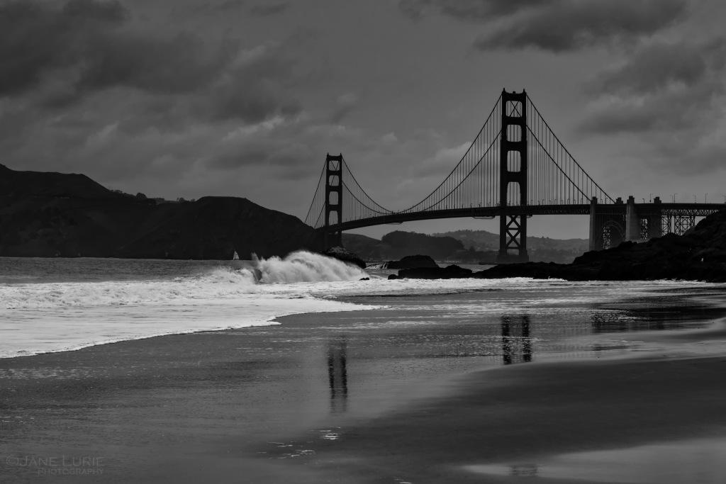 Golden Gate, San Francisco, Wave, Beach, Nikon, Monochrome, Black and White, Nikon, Landscape, California