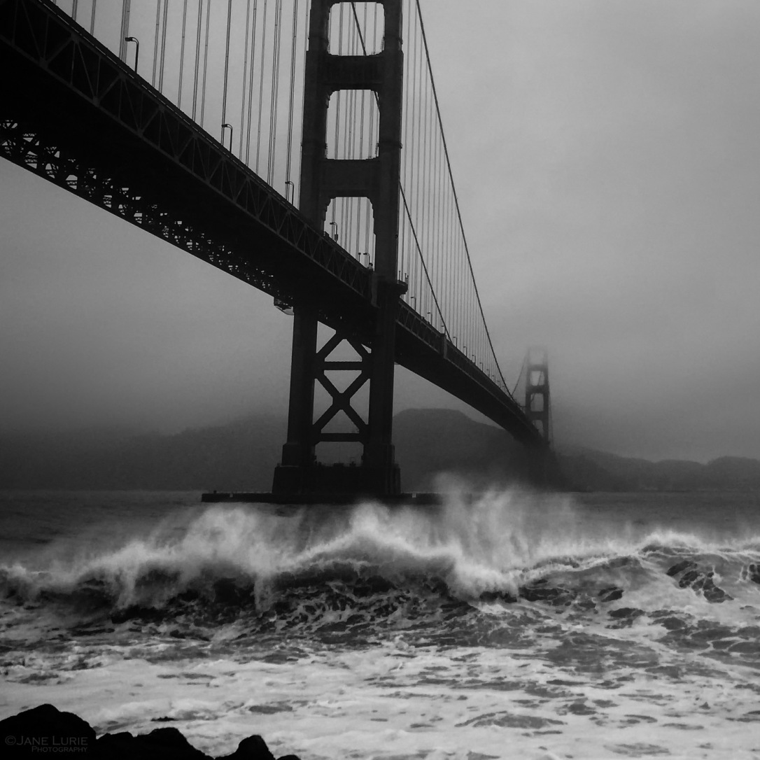 Black and White, Landscape, California, Water, Golden Gate