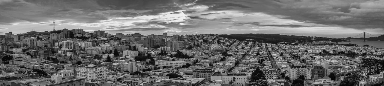 Panorama, Photography, Landscape, City, San Francisco, Monochrome, Black and White, Fujifilm X-T2