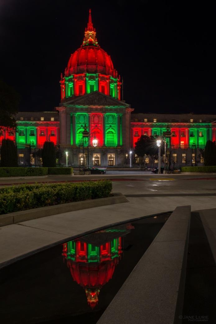 San Francisco, City Hall, Christmas, Architecture, Night Photography