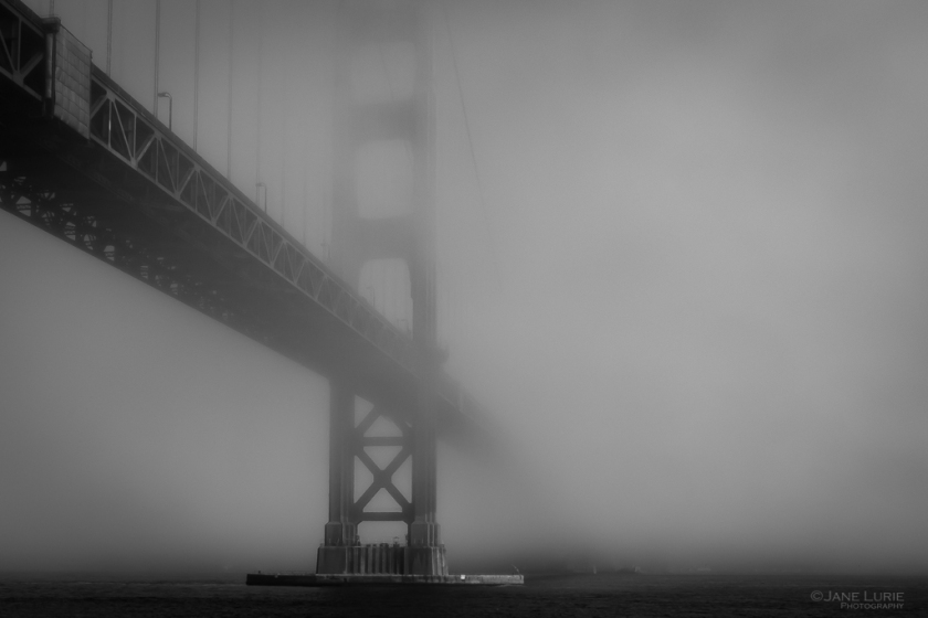 Black and White, Photography, Golden Gate Bridge, Fog, Fuj