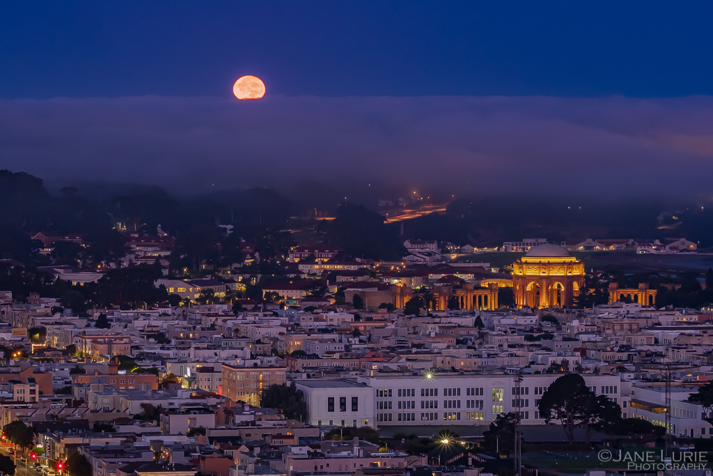 Moon, San Francisco, Full Moon, Blue Hour, Fujifilm X-T2
