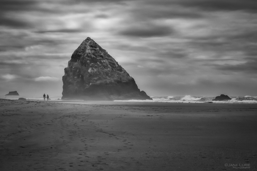 Haystack Rock, Photography, Oregon, Black and White, Monochrome, Fujifilm X-T2