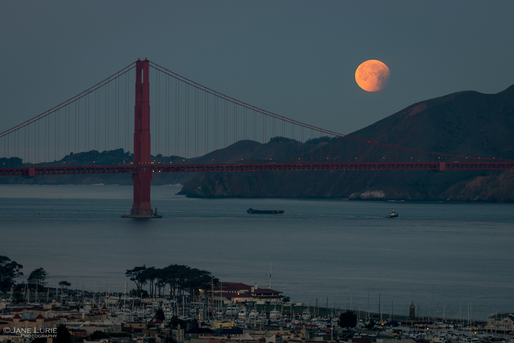 Golden Gate Bridge, San Francisco, Moon, Photography, Landscape, Night